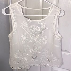 Brandy Melville white crochet crop top